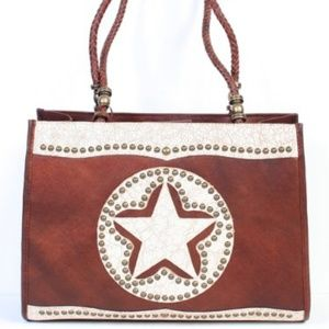 Scully Leather Purse Brown Texas Star NWT